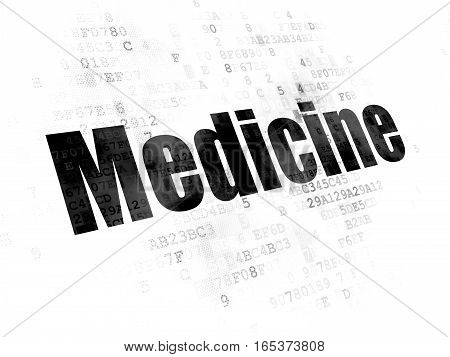 Healthcare concept: Pixelated black text Medicine on Digital background