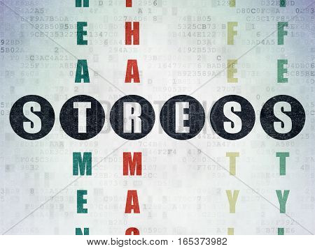 Medicine concept: Painted black word Stress in solving Crossword Puzzle on Digital Data Paper background