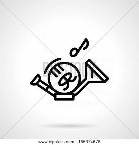 Musical instrument theme. Symbol of french horn and notes. Brass and woodwind music. Equipment for symphonic orchestra, concerts, performance. Black simple line design vector icon.