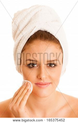 Beautiful Young Woman Cleaning Skin Conceptual Photo For Skin Care