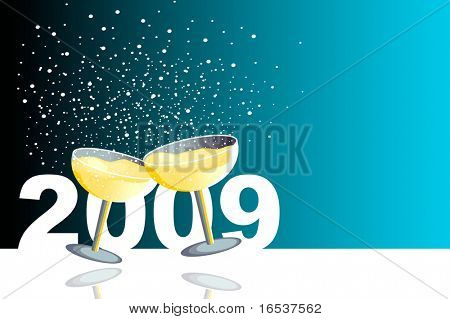 Blue illustration with two glasses of champagne in a new year celebration.
