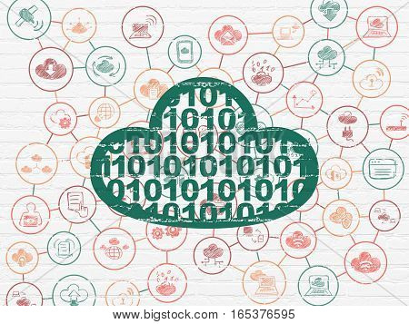 Cloud technology concept: Painted green Cloud With Code icon on White Brick wall background with Scheme Of Hand Drawn Cloud Technology Icons