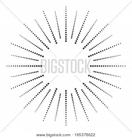 Dotted radial element. Graphic pattern of black dots on white background. Vector EPS10.