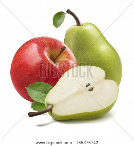 Green pears red apple isolated on white background as package design element