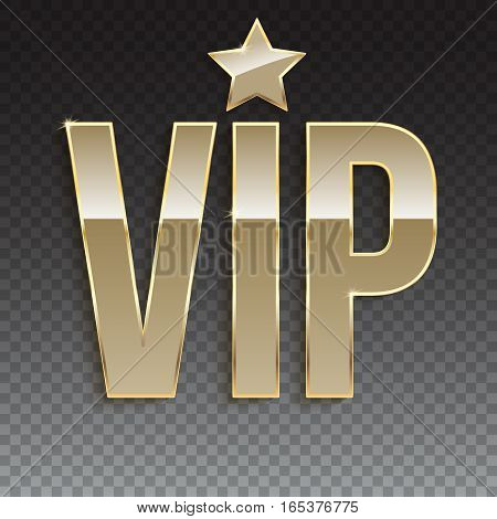Golden symbol of exclusivity, the label VIP. Very important person - VIP icon with effect of glass reflection, sign of exclusivity with golden glow. Template for vip banners or card on trasparent