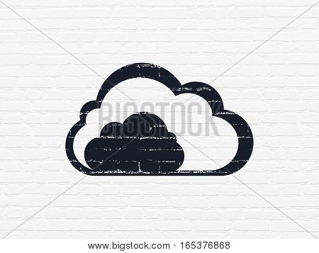Cloud networking concept: Painted black Cloud icon on White Brick wall background