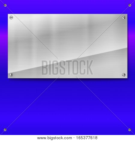 Shiny brushed metal plate with screws. Stainless steel banner on blue polished background, vector illustration for you