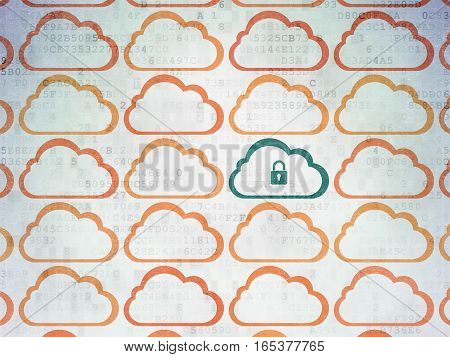 Cloud networking concept: rows of Painted orange cloud icons around green cloud with padlock icon on Digital Data Paper background