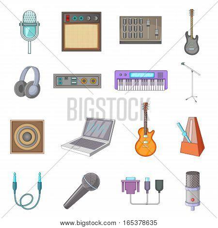 Recording studio icons set. Cartoon illustration of 16 recording studio vector icons for web