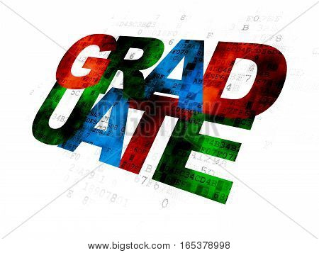 Learning concept: Pixelated multicolor text Graduate on Digital background