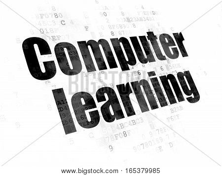 Studying concept: Pixelated black text Computer Learning on Digital background