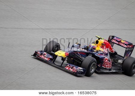 Mark Webber on a high speed straight during Friday practice