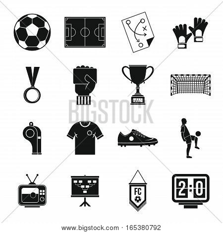 Soccer football icons set. Simple illustration of 16 soccer football vector icons for web