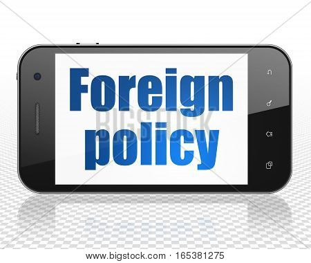 Politics concept: Smartphone with blue text Foreign Policy on display, 3D rendering
