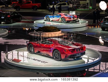 DETROIT MI/USA - JANUARY 9 2017: A 2017 Two Ford GT cars production and race versions at the North American International Auto Show (NAIAS).
