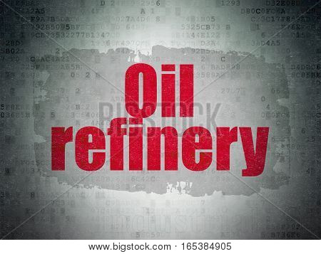 Manufacuring concept: Painted red text Oil Refinery on Digital Data Paper background with   Tag Cloud