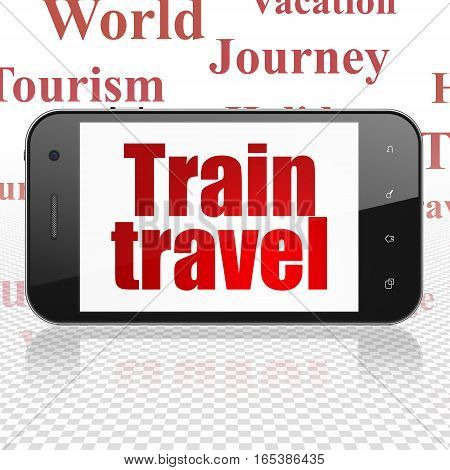 Tourism concept: Smartphone with  red text Train Travel on display,  Tag Cloud background, 3D rendering