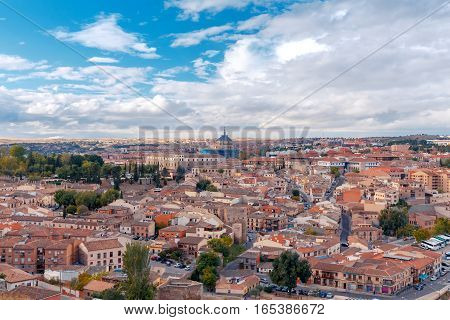 Scenic view of Toledo from the height at sunset. Spain. Castilla la Mancha.