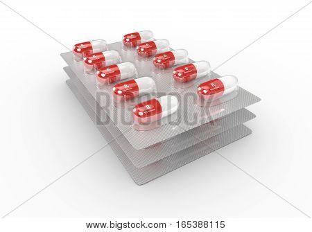 3D Rendering Of B2 Vitamin Pills In Blister Pack