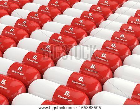3D Rendering Of B2 Vitamin Pills