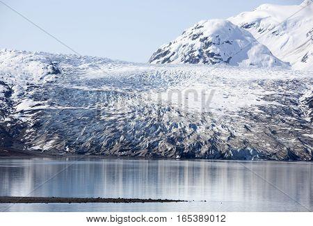 The view of a small glacier in Glacier Bay national park (Alaska).