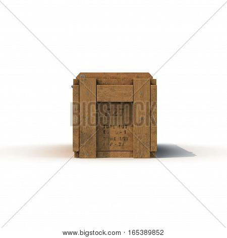 Front view box of ammunition isolated on white background. 3D illustration