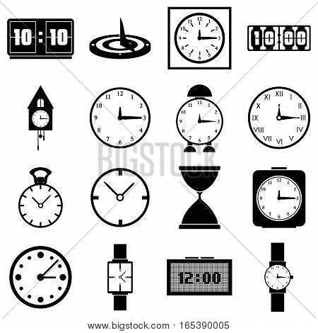 Clocks icons set. Simple illustration of 16 clocks vector icons for web
