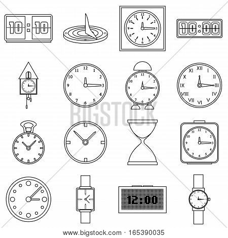 Clocks icons set. Outline illustration of 16 clocks vector icons for web