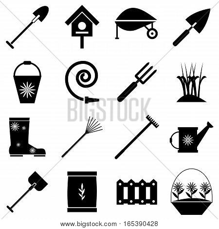 Gardener tools set. Simple illustration of 16 gardener tools vector icons for web