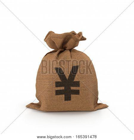 Canvas money sack with Yen symbol on white background. 3D illustration