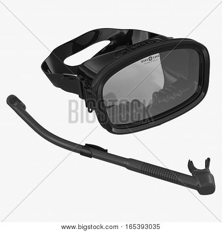 Diving Snorkel and Mask on white background. 3D illustration