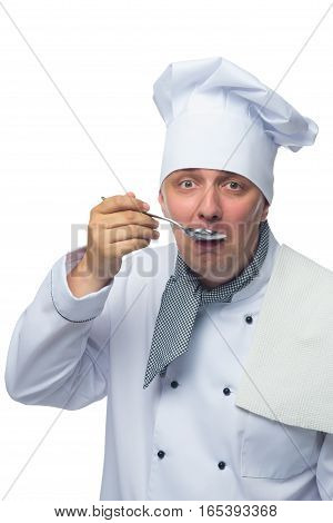 metal spoon chef tastes what he cooked