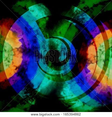 Abstract Psychedelic Dark Colors Green Blue Orange Background