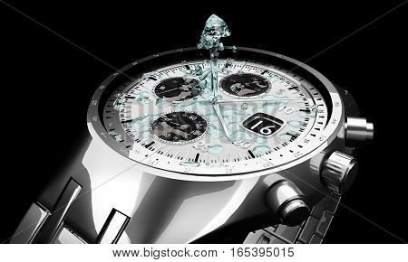 Chrome watch with water fountain isolated on the black background. Silver jewelry with jet strem. 3D illustration