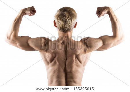 Man Show Rear Double Biceps Isolated On White