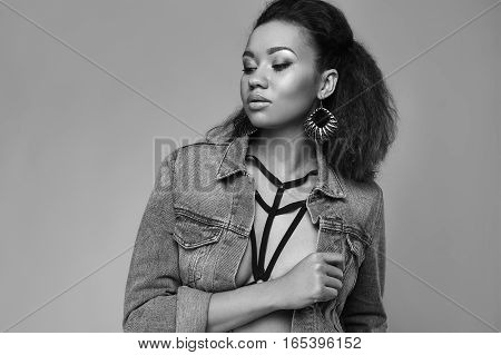 Glamor Elegant Black Woman Model In Jeans Jacket