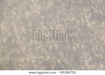 White snow background texture in sunny winter day, macro shoot