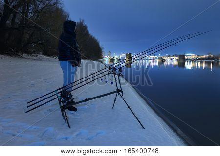 Night Fishing Fisherman In Winter Night. Night Fishing, Winter Fishing.