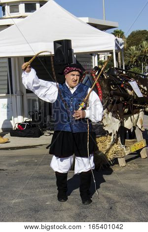 CAGLIARI, ITALY - October 29, 2016: Invitas waterfront Porto Sardinia performances of traditions and food. - Ass. Culturale