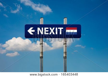 a concept of two road signs dutch elections (nexit) and european union