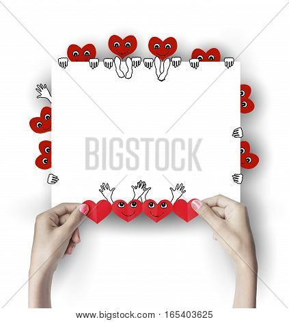 Red heart in the hands. Background for Valentine's Day