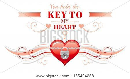 Happy Valentines day border, locked heart, key. Romance, love text lettering, isolated frame white background. Cute romantic Valentine banner vector illustration. Abstract holiday. Flat cartoon sign