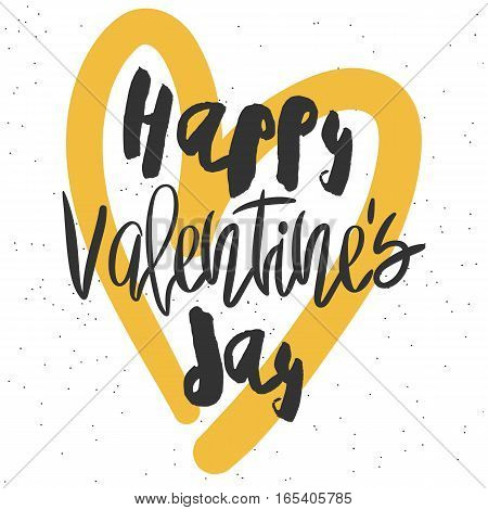 Romantic decorative poster with handdrawn lettering. Modern ink calligraphy. Handwritten black phrase and yellow heart on white. Trendy vector design for Valentines Day
