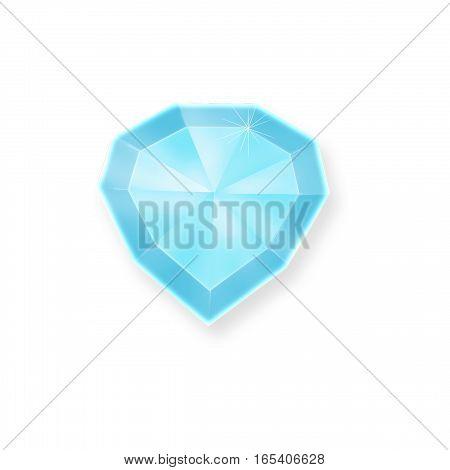 Blue diamond symbol.  Diamonds illustration in a flat style, isolated.