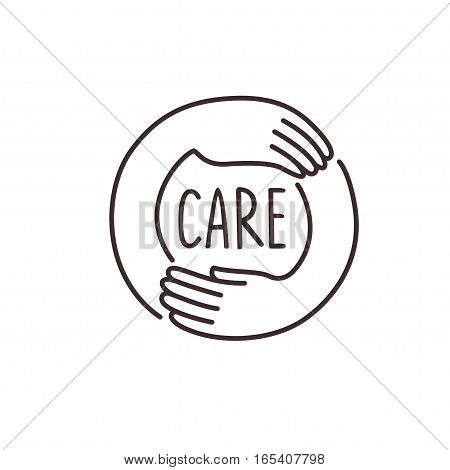 care about, isolated line vector illustration logo