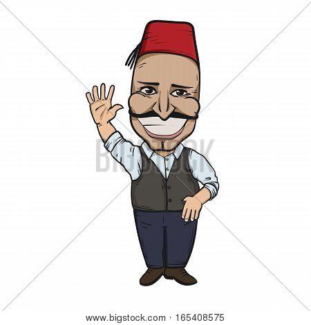 Turkish man waving hello. Hand drawn illustration. EPS10 vector