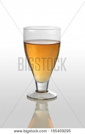 White Wine Glass on White Reflective Background