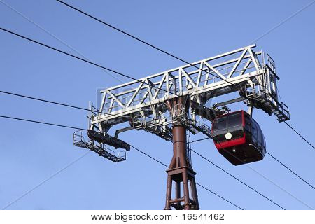 Red cable car isolated on blue sky background.