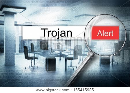 reading the word trojan browser search security alert 3D Illustration