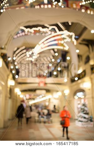 Defocused photo of festive trading hall in new year